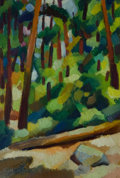 "Fine Art - Painting, American:Modern  (1900 1949)  , OTIS OLDFIELD (American, 1890-1969). Yosemite Trees - Our Camp(Series #14 from ""Notes of a Promenade with Yun Gee""), 19..."