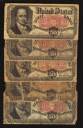 Fractional Currency:Fifth Issue, Fr. 1381 50¢ Fifth Issue Good or better. Five Examples.. ... (Total: 5 notes)