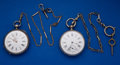 Timepieces:Pocket (pre 1900) , Two Swiss Pocket Silver Key Wind Pocket Watches Runners. ... (Total: 2 Items)