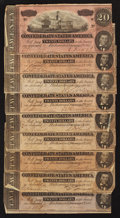 Confederate Notes:1864 Issues, T67 $20 1864. Nine Examples.. ... (Total: 9 notes)