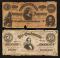 Confederate Notes:1864 Issues, T65 $100 1864.. T66 $50 1864.. ... (Total: 2 notes)