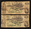 Confederate Notes:1862 Issues, T45 $1 1862. Two Examples.. ... (Total: 2 notes)