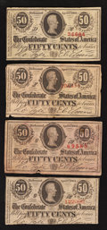 Confederate Notes:1863 Issues, T63 50 Cents 1863. Four Examples.. ... (Total: 4 notes)