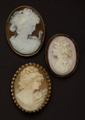 Estate Jewelry:Cameos, Three Estate Cameos Pins. ... (Total: 3 Items)