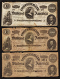 Confederate Notes:1862 Issues, T49 $100 1862.. T65 $100 1864. Two Examples.. ... (Total: 3 notes)