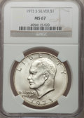 Eisenhower Dollars: , 1973-S $1 Silver MS67 NGC. NGC Census: (494/97). PCGS Population(2976/810). Mintage: 869,400. Numismedia Wsl. Price for pr...