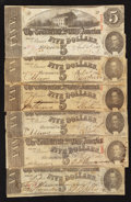 Confederate Notes:1863 Issues, T60 $5 1863. Six Examples.. ... (Total: 6 notes)