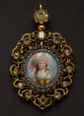 Estate Jewelry:Pendants and Lockets, Rare Georgian Gold, Diamond, Emerald & PorcelainPendant/Locket. ...