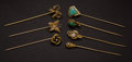 Estate Jewelry:Stick Pins and Hat Pins, A Lot of Seven Gold Stick Pins. ... (Total: 7 Items)