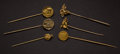 Estate Jewelry:Stick Pins and Hat Pins, Six Early Stick Gold Pins. ... (Total: 6 Items)