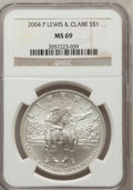 Modern Issues, 2004-P $1 Lewis and Clark Silver Dollar MS69 NGC. NGC Census:(2501/1499). PCGS Population (3212/648). Numismedia Wsl. Pri...