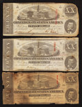 Confederate Notes:1863 Issues, T58 $20 1863. Three Examples.. ... (Total: 3 notes)
