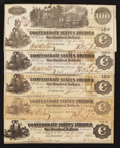 Confederate Notes:1862 Issues, T39 $100 1862. Four Trains and the Caboose.. ... (Total: 5 notes)