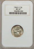 Jefferson Nickels: , 1942-P 5C Type Two MS67 NGC. NGC Census: (1895/2). PCGS Population(145/0). Mintage: 57,900,600. Numismedia Wsl. Price for ...