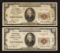 National Bank Notes:Wisconsin, Milwaukee, WI - $20 1929 Ty. 1 First Wisconsin NB Ch. # 64, Two Examples.. ... (Total: 2 notes)