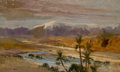 Fine Art - Painting, American:Modern  (1900 1949)  , FREDERICK ARTHUR BRIDGMAN (American, 1847-1928). ArabianDesert. Oil on canvas laid on cardboard. 14 x 23 inches (35.6x...