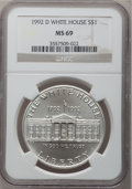 Modern Issues: , 1992-D $1 White House Silver Dollar MS69 NGC. NGC Census:(4303/465). PCGS Population (1877/170). Mintage: 123,803.Numisme...
