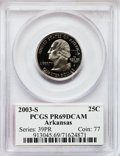 Proof Statehood Quarters, 2003-S 25C Arkansas Clad PR69 Deep Cameo PCGS. PCGS Population(3825/324). NGC Census: (3772/1625). Numismedia Wsl. Price ...
