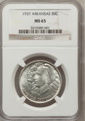 Commemorative Silver: , 1937 50C Arkansas MS65 NGC. NGC Census: (203/50). PCGS Population(244/98). Mintage: 5,505. Numismedia Wsl. Price for probl...