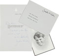 Autographs:U.S. Presidents, Jacqueline Kennedy Typed Letter Signed With a Lengthy HolographClosing. ... (Total: 2 Items)
