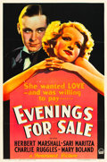 "Movie Posters:Comedy, Evenings for Sale (Paramount, 1932). One Sheet (27"" X 41"").. ..."