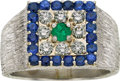 Estate Jewelry:Rings, Gentleman's Sapphire, Diamond, Emerald, Platinum Ring. ...