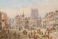 Fine Art - Work on Paper:Watercolor, LOUISE RAYNER (British, 1829-1924). Market Cross. Watercoloron paper. 9-1/4 x 13-3/4 inches (23.5 x 34.9 cm). Signed lo...