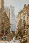 Fine Art - Work on Paper:Watercolor, LOUISE RAYNER (British, 1829-1924). Market Street,Cambridge. Watercolor on paper. 6-1/2 x 4-1/2 inches (16.5 x11.4 cm)...