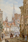 Fine Art - Work on Paper:Print, LOUISE RAYNER (British, 1829-1924). View of Cambridge.Watercolor on paper. 6-1/2 x 4-1/2 inches (16.5 x 11.4 cm).Signe...