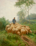 Paintings, FRANZ DE BEUL (Belgian, 1849-1919). Shepherd with Flock. Oil on canvas. 32 x 25 inches (81.3 x 63.5 cm). Signed lower le...