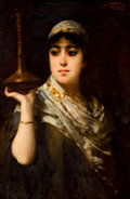 Fine Art - Painting, European, NATHANIEL SICHEL (German, 1843-1907). An Exotic Beauty. Oilon canvas. 28-1/2 x 19 inches (72.4 x 48.3 cm). Signed upper...
