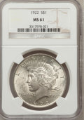 Peace Dollars: , 1922 $1 MS61 NGC. NGC Census: (469/156484). PCGS Population(541/102575). Mintage: 51,737,000. Numismedia Wsl. Price for pr...