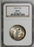 1943-D 50C MS67 NGC. This sharply struck short-set Superb Gem has great luster and eye appeal, as well as lovely violet...