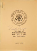 Books:Signed Editions, Ronald Reagan Signed Secret Service Itinerary Booklet for His 1983Trip to Los Angeles and San Francisco to Personally Welcome...