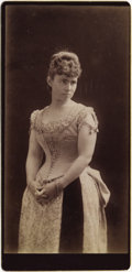 "Photography:Cabinet Photos, IMPERIAL CARD OF PROSTITUTE OR ""ACTRESS"" - PROMENADE CARD - ca. 1885. A Large and expressive portrait of an early prostitute... (Total: 1 Item)"