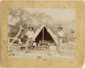 """Photography:Cabinet Photos, ARMED WESTERN COWBOYS IN CAMP """"A COOK WANTED"""" - IMPERIAL CARD -ca.1890. A special and unique Western image of two Cowboys w...(Total: 1 Item)"""
