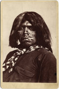 Photography:Cabinet Photos, APACHE INDIAN COWBOY PORTRAIT - CABINET CARD - ca. 1885-90 Awonderful portrait of an Apache Indian cowboy displaying both ...(Total: 1 Item)