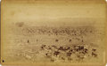 "Photography:Cabinet Photos, 1896 COLORADO SPRINGS SCENIC VIEW BY W.E. HOOK. Approximately 8"" x 5"" sepia cabinet card depicting five cowboys tending a la... (Total: 1 Item)"