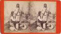 Photography:Stereo Cards, STEREOVIEW OF LAGUNA PUEBLO COUPLE BY WITTICK. Studio shot of a Native couple wearing clothing and accessories specific to t... (Total: 1 Item)