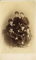 Photography:CDVs, CARTE DE VISITE OF MARCUS RENO, LYMAN GILBERT, CAPT. E.V. SUMNER, AND OTHERS.ca. 1866 Unusual group shot of Major M... (Total: 1 Item)