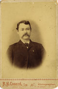 Photography:Cabinet Photos, HANDSOME CABINET CARD BUST OF ALBERT STINSON, DEPUTY SHERIFF OFJACK COUNTY, TX. Photographed by R. H. Cosand in this attra...(Total: 1 Item)