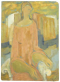Fine Art - Painting, American:Other , ZOLTAN SZABO (Twentieth Century). Seated Woman. Oil onmasonite. 24in. x 17-1/2in.. ...