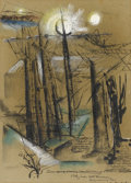 Fine Art - Painting, American:Contemporary   (1950 to present)  , JOSEPH DEMARTINI (American, 1896-1984). Study near south NewJersey. Acrylic, ink and pastel on paper. 15in. x 11in.. Ti...(Total: 1 Item)
