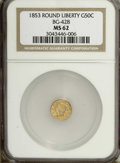 California Fractional Gold: , 1853 50C Liberty Round 50 Cents, BG-428, R.3, MS62 NGC. NGC Census:(8/4). PCGS Population (74/32). (#10464)...