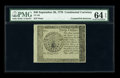 Colonial Notes:Continental Congress Issues, Continental Currency Blue Paper Counterfeit Detector September 26, 1778 $40 PMG Choice Uncirculated 64 EPQ....