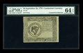 Colonial Notes:Continental Congress Issues, Continental Currency Blue Paper Counterfeit Detector September 26,1778 $8 PMG Choice Uncirculated 64 EPQ....