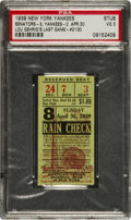 Baseball Collectibles:Tickets, 1939 Lou Gehrig Final Game of Historic Streak Ticket Stub....