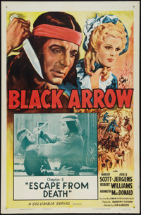 """Black Arrow (Columbia, R-1955). One Sheets (2) (27"""" X 41"""") Chapter 9 -- """"Escape From Death"""" &amp..."""