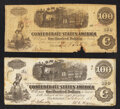 Confederate Notes:1862 Issues, T40 $100 1862. Two Examples.. ... (Total: 2 notes)