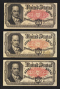 Fractional Currency:Fifth Issue, Three Fr. 1380 50¢ Fifth Issue Notes Very Fine.. ... (Total: 3 notes)
